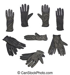 Black cloth working gloves isolated - Black cloth working...