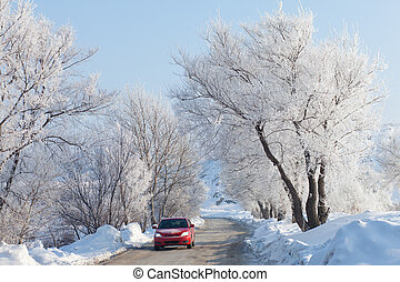 Car moving on beautiful winter road - Red car moving on ice...