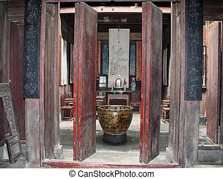 Traditional Chinese Room Interior, Anhui, China, oil paint...