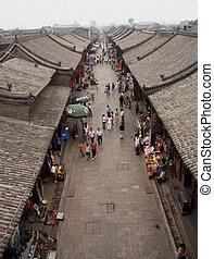 古代, 古い, 町,  pingyao, 通り, 陶磁器, 航空写真, オイル, 光景