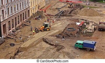 View of construction site - Aerial view of a construction...
