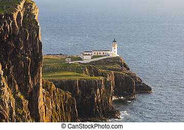 Neist Point Lighthouse - Sunset on Lighthouse at Neist...