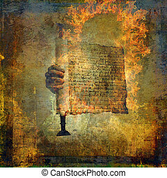 The Burning Word - Hand holding a burning scroll. Photo...