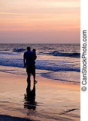 Father and Baby at the Ocean