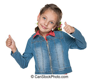 Cute little girl with her thumbs up