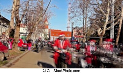 The bikers Santa Claus parade - Undefined Santas delivering...