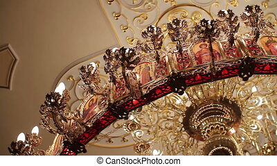 chandelier in the temple - chandelier in the ortodox church