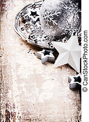 Christmas ornaments in silver tone