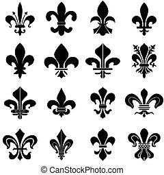Fleur de Lys symbols - set of sixteen fleur de lys symbols...