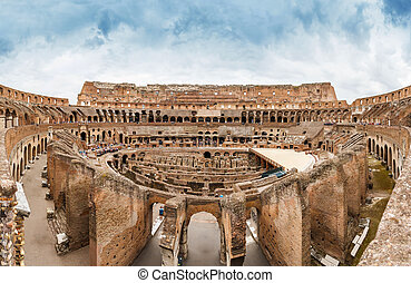Colosseum in Rome, Italy - panorama from inside of Colosseum...