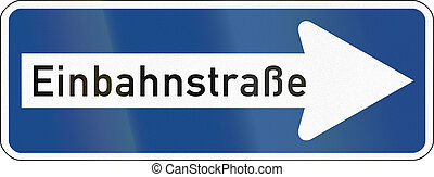 One-Way To The Right - German traffic sign:...
