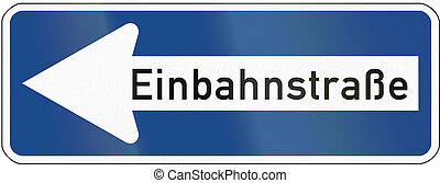 One-Way To The Left - German traffic sign:...