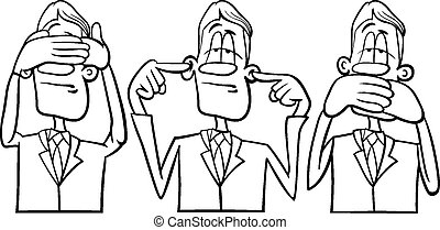 see hear speak no evil - Black and White Cartoon Humor...
