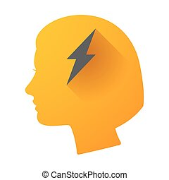 Woman head icon with a lightning