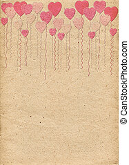 Beige paper with pattern in form of hearts-balls. Love....