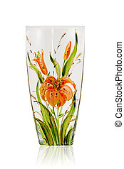 Beautiful glass vase - Empty glass vase with painted flowers...
