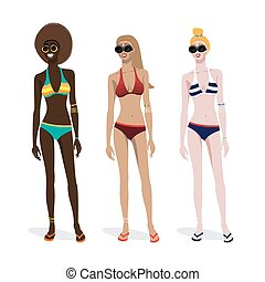 Three girls of different skin types in a bathing suit...