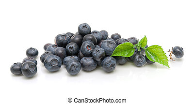 ripe blueberries isolated on white background close-up...
