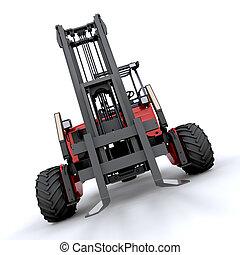 forklift truck - 3d render of forklift truck on white