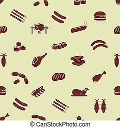 meat food icons and symbols seamless pattern eps10