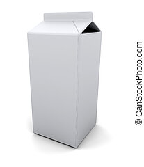 blank carton - 3D render of a blank milk carton
