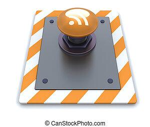 RSS push button - 3d render of a RSS push button