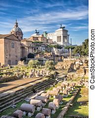 Forum Romanum, Rome, Italy - Forum Romanum and monument of...