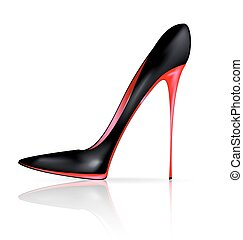 black red shoe - white background and the red black ladys...