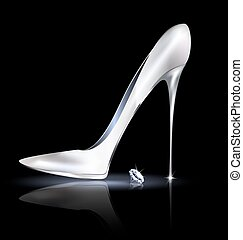 silver shoe and crystal - dark background and the ladys...