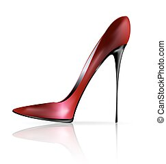 red black shoe - white background and the red black ladys...