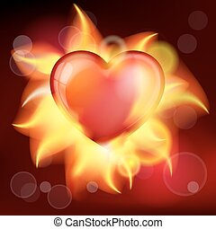 burning heart - Vector illustration red burning heart for...