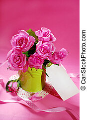 for my love - bunch of roses and paper tag for writing text...