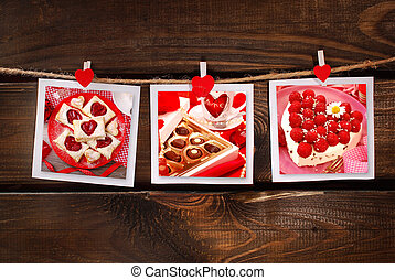 sweet valentines party - three cards with collection of...