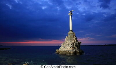 Monument to the Scuttled Warships in Sevastopol at night,...