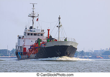 gas lpg container tanker ship running in river use for...