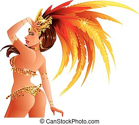 Carnival Dancer - A beautiful carnival girl wearing a...
