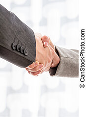 Two businesspeople shaking hands - Close up view of the arms...