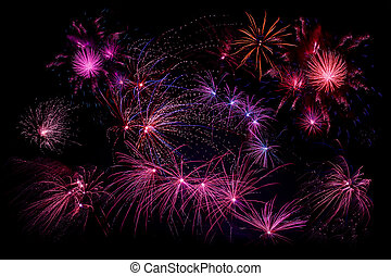 Fireworks in violet colors