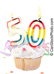 50th birthday - fiftieth birthday cupcake with white...