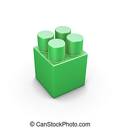 Green plastic building blocks isolated on white background