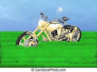 gold chopper on a green meadow