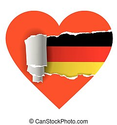 I love Germany - Heart with torn paper uncovering German...