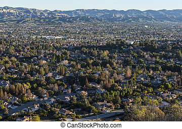 Simi Valley California - Dense suburban neighborhoods near...
