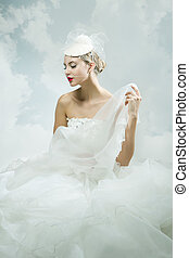 Bride over the sky background Vintage style - Beautiful...