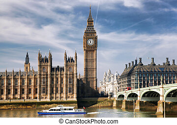 Big Ben with bridge in London, England - Famous Big Ben with...