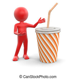 Man and Disposable cup. Image with clipping path