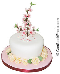 Iced Cake with Peach Blossom isolated with clipping path...