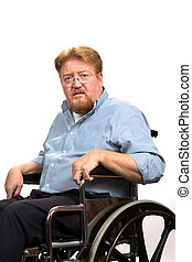Man Disabilities In Wheelchair - Disabled man sitting in a...