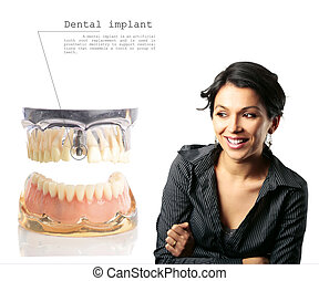 Dental implant - Gorgeous middle age Latin woman next to a...