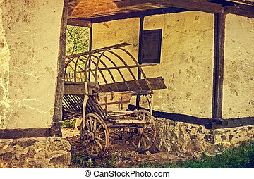 Old photo at one romanian farmhouse exterior, in Banat area,...